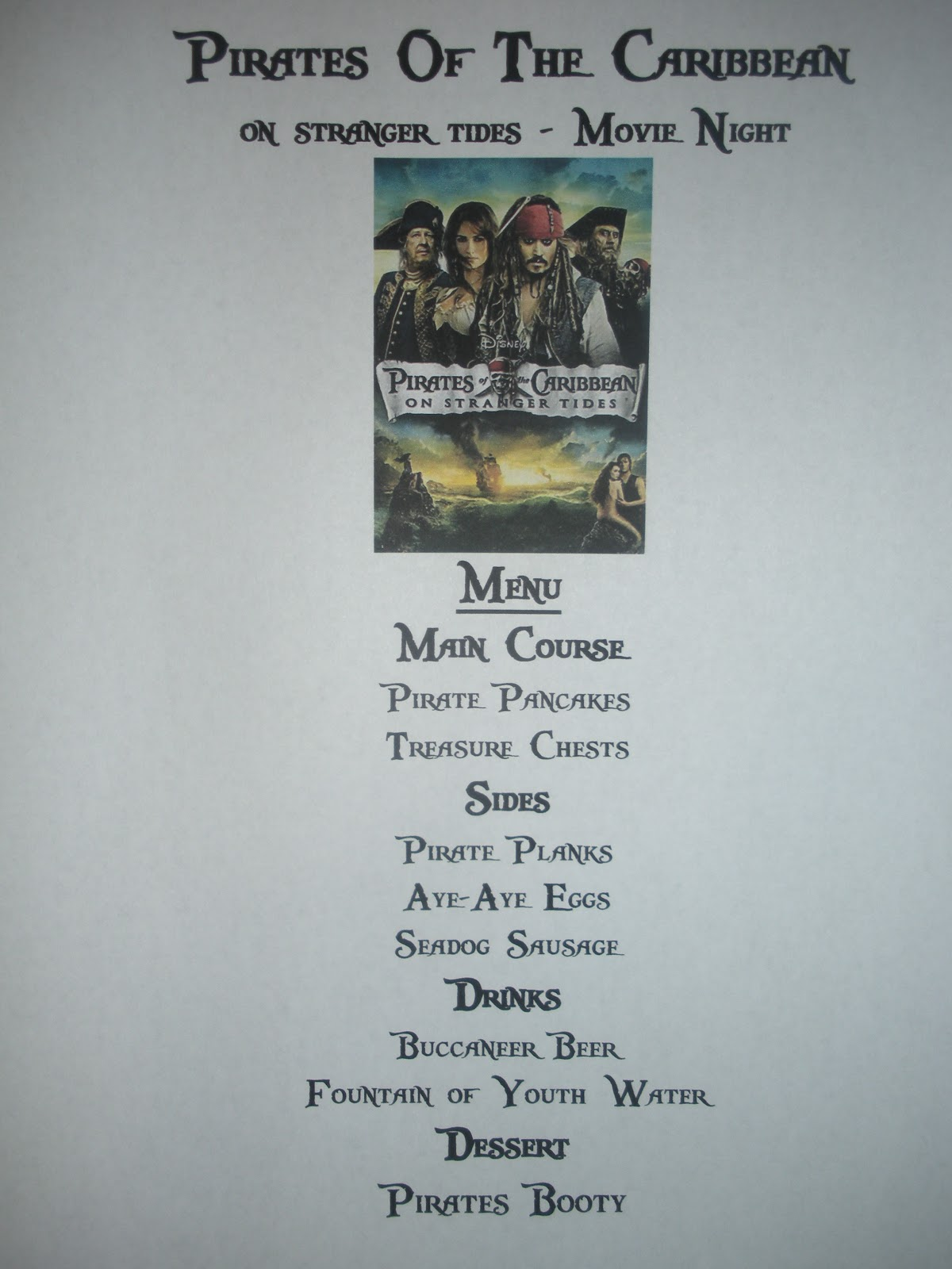 Craftzilla Disney Movie Nights Pirates Of The Caribbean