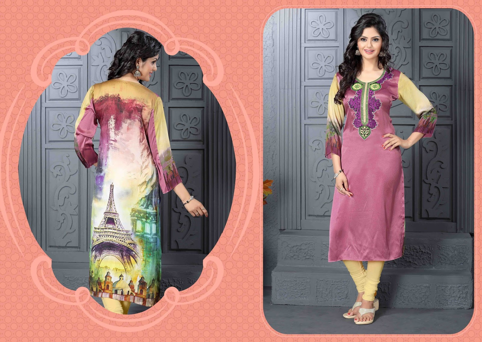 Catalouge No.1513 -Satin Febric With Heavy Embroidery Work Kurti