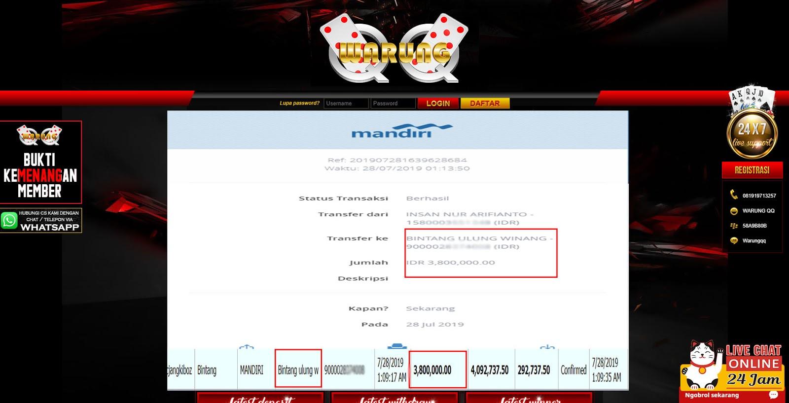 Selamat Kepada Member Setia WarungQQ Withdraw RP 3.800.000