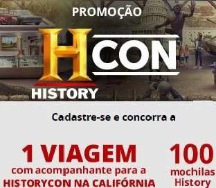 Cadastrar Promoção Canal History 2020 Viagem Califórnia Historycon 100 Mochilas