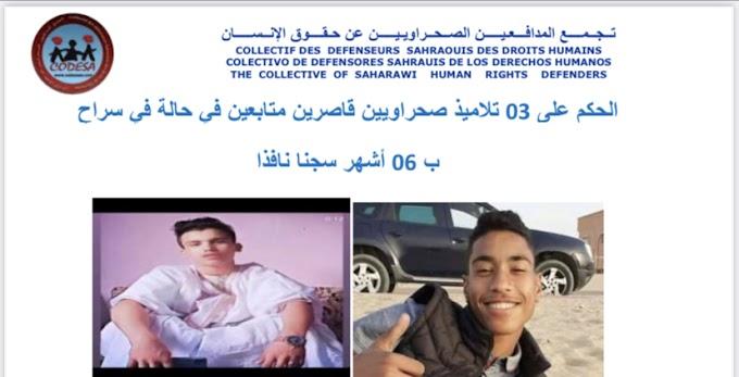 Un Tribunal marroquí condena a tres menores saharauis a 6 meses de cárcel.