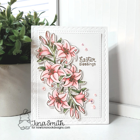 Easter Lily Card by Tina Smith | Easter Lily Stamp Set and Frames & Flags Die Set by Newton's Nook Designs #newtonsnook #handmade