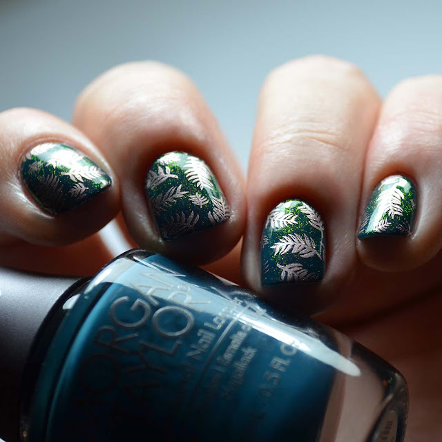 teal nail polish with gold frond stamping and gold to green shimmer swatch
