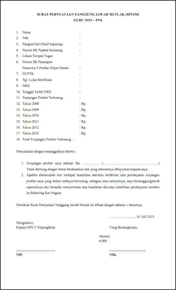 Surat Pernyataan Tanggung Jawab Mutlak Sptjm Min 2 Tanjungbalai