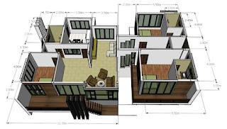 Denah Desain rumah minimalis 2 kamar