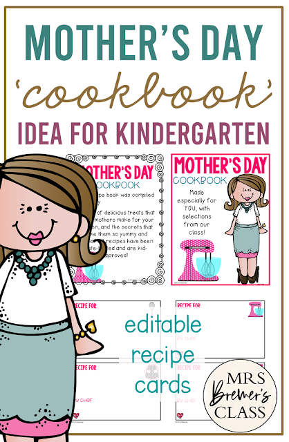 Cute Mothers Day gift- Mother's Day Cookbook with Recipes for Kindergarten and First Grade
