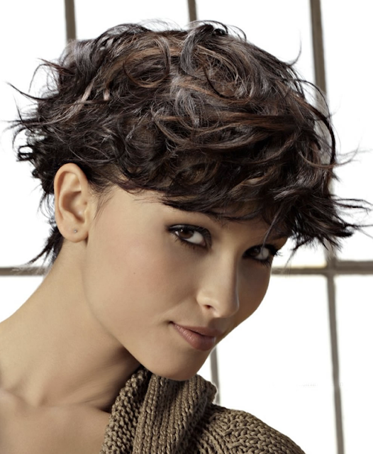 Curly pixie haircut for young ladies