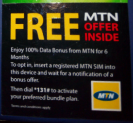 A short advert attached to the park of new phone to get Mtn  double data offer