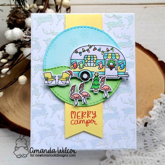 Merry Camper | Camper decorated for Christmas card by Amanda Wilcox | Christmas Campers Stamp Set, Reindeer Stencil, Land Borders Die Set and Circle Frames Die Set by Newton's Nook Designs #newtonsnook #handmade