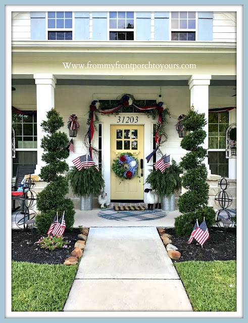 Patriotic -Porch -Decor-Yellow-Front-Door-Suburban-Farmhouse-Cottage-Style-Hydrangeas-DIY-Bows--From My Front Porch To Yours