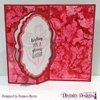 Stamp Set: Miracle of Easter  Custom Dies: Vintage Label Flip Fold Card with Layers, Double Pierced Vintage Labels  Mixed Media Stencil: Flourishes