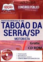Apostila motorista Prefeitura de Taboão da Serra (SP) 2017