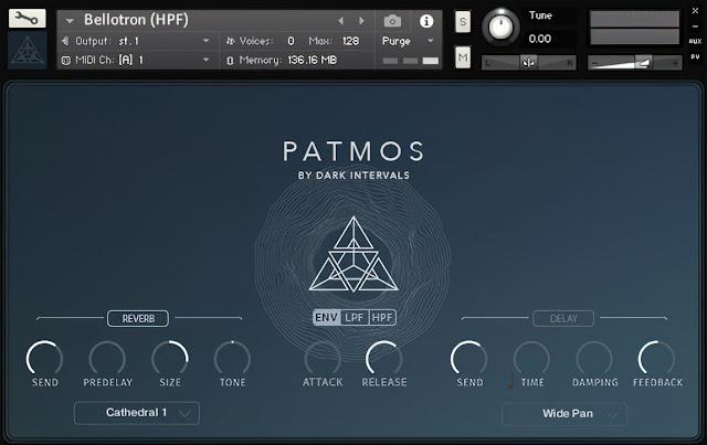 Interface da Library Dark Intervals - Patmos (KONTAKT)
