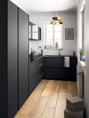 Contemporary small kitchen furniture features black cabinets and countertops