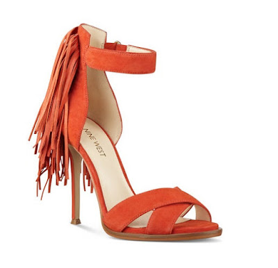 nine west orange open toe fringe ankle strap high heels