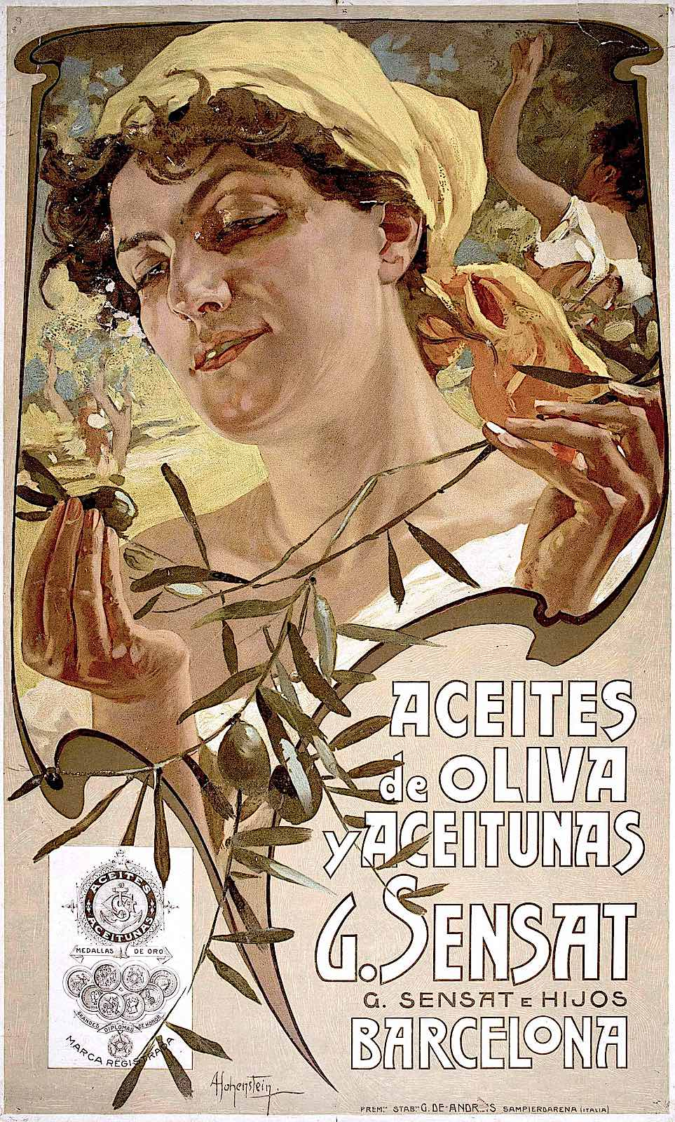 a poster illustration by Adolf Hohenstein, Aceites de Oliva yAceitunas G. Sensat E Hijos Barcelona