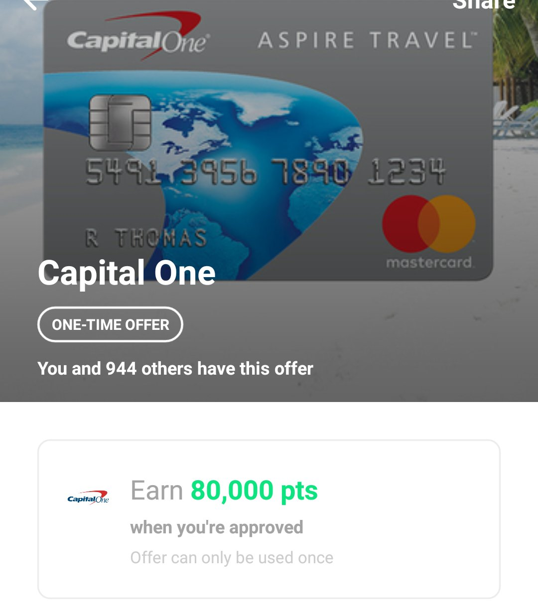 Capital One Aspire Platinum Travel Mastercard: 80,000 Drop
