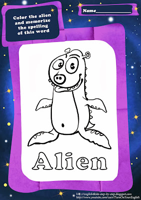 alien coloring pages for esl