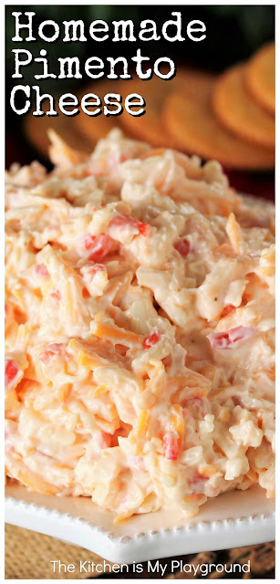 Homemade Pimento Cheese ~ A true Southern institution!  This classic creamy cheese spread is perfect on crackers and in classic pimento cheese sandwiches.  And with this recipe, it's super easy to make your own tasty pimento cheese at home.  www.thekitchenismyplayground.com