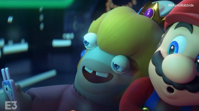 Mario + Rabbids Sparks of Hope Peach Rabbid selfie spaceship