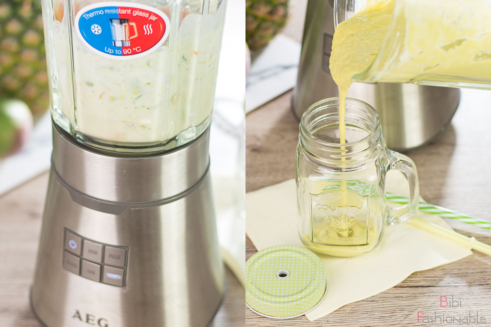 Avocado Melonen Smoothie mixen abfüllen
