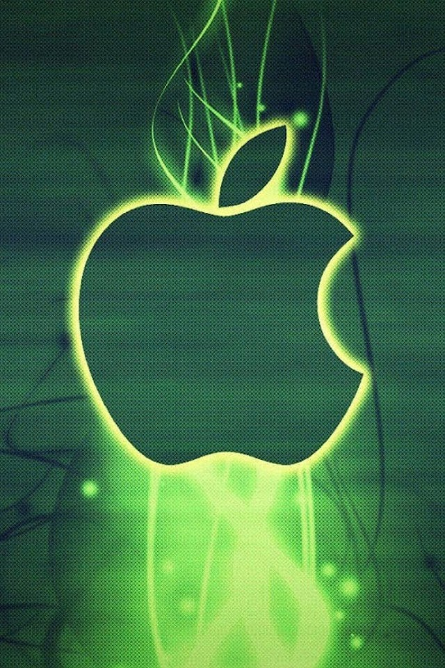 Green Glowing Apple Logo   Galaxy Note HD Wallpaper