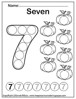set of pumpkins dot activity free preschool coloring sheets