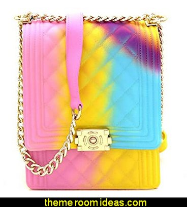 Bright Rainbow Multicolor Neon Jelly Mini Satchel Medium Shoulder Bag Crossbody