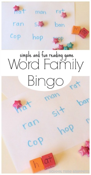 Make your own word families reading game with a few simple materials! So fun and easy!
