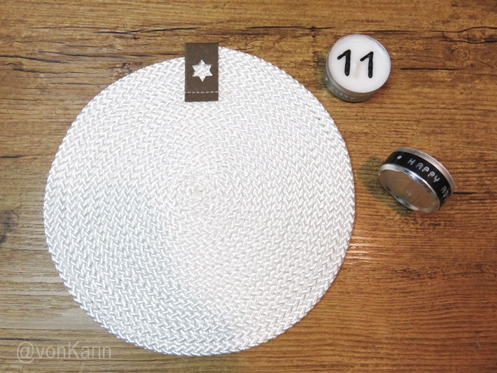 Seiluntersetzer genaeht und Teelicht mit Etikett