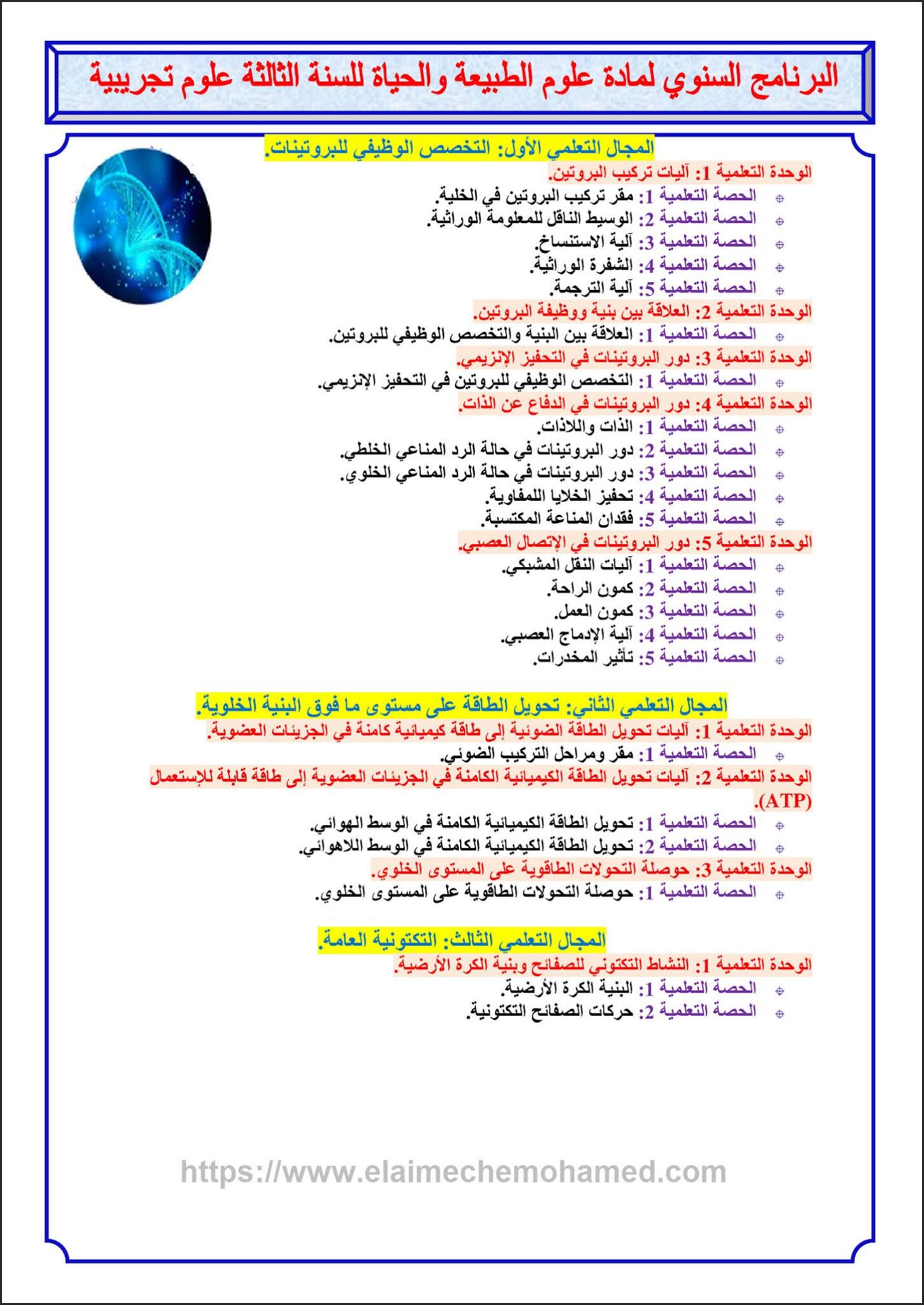 التوزيع السنوي الخاص بأقسام نهائي علوم لمادة علوم الطبيعة والحياة