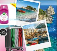 Logo Air Wick ''Un'estate in fragranza'': vinci 45 trolley Roncato e 9 weekend a Capri o Taormina