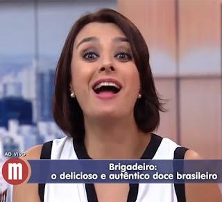 Apresentadora Cátia Fonseca falando sobre brigadeiro gourmet