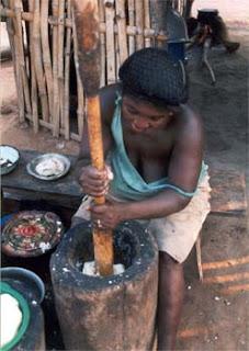 Making fufu for dinner in Nigeria