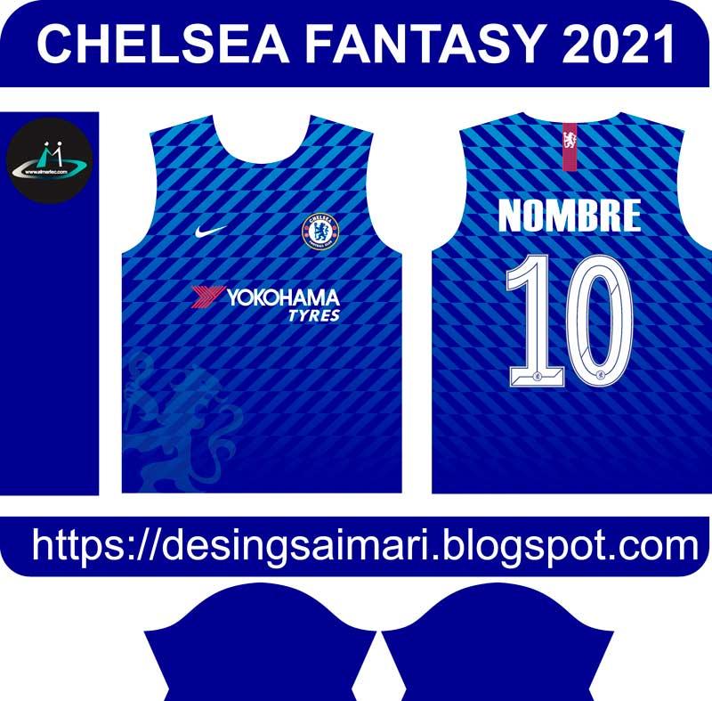Camiseta Chelsea 2021 Nike Fantasy  plantilla para sublimar camiseta