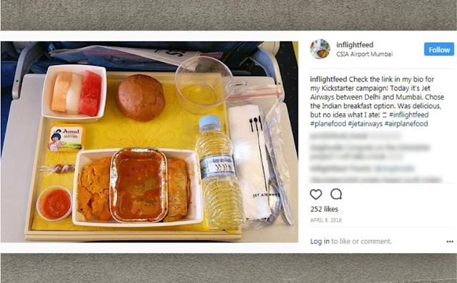 Menu Makanan di dalam Pesawat Jet Airways, India