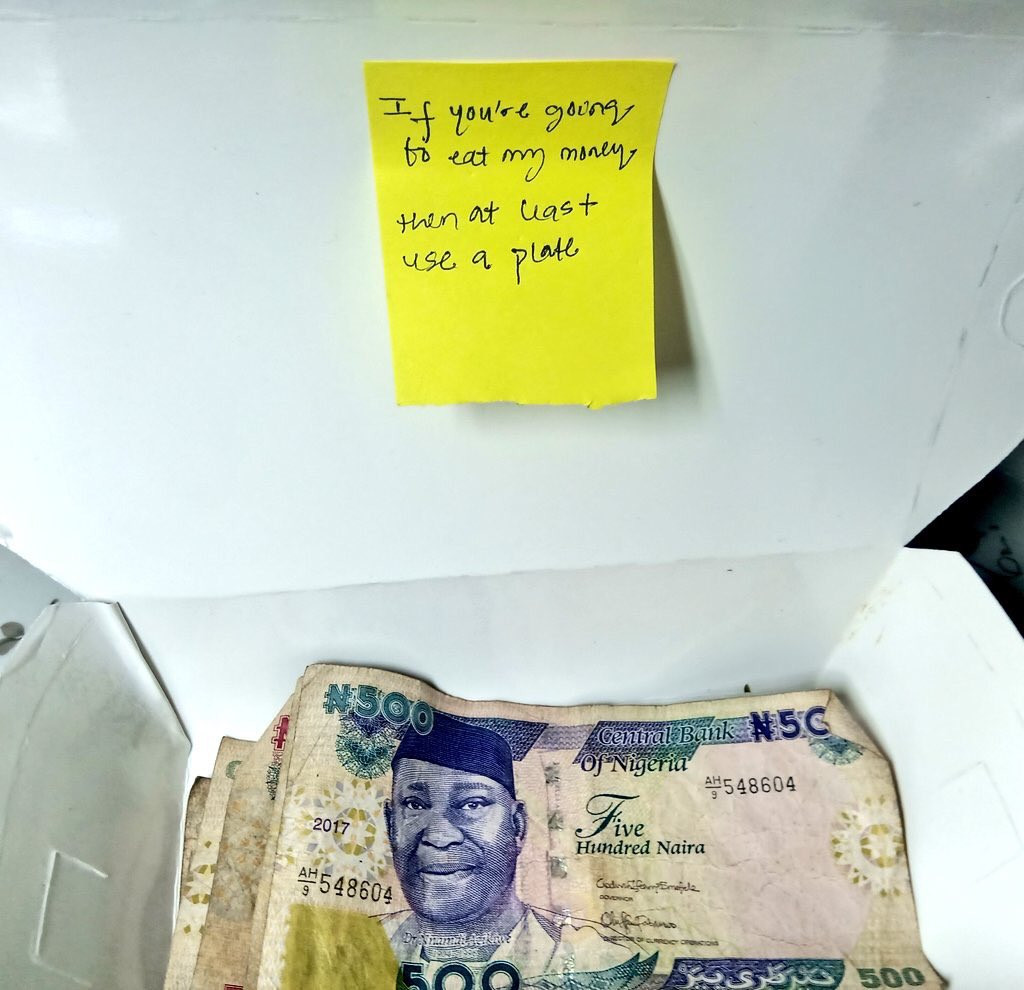 Romantic: With A Sweet Note, Boy Delivers Food And Money To His Girlfriend - Photos