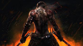 Warrior, Back, Tattoo, Katana, Fantasy, 4K, #6.2539