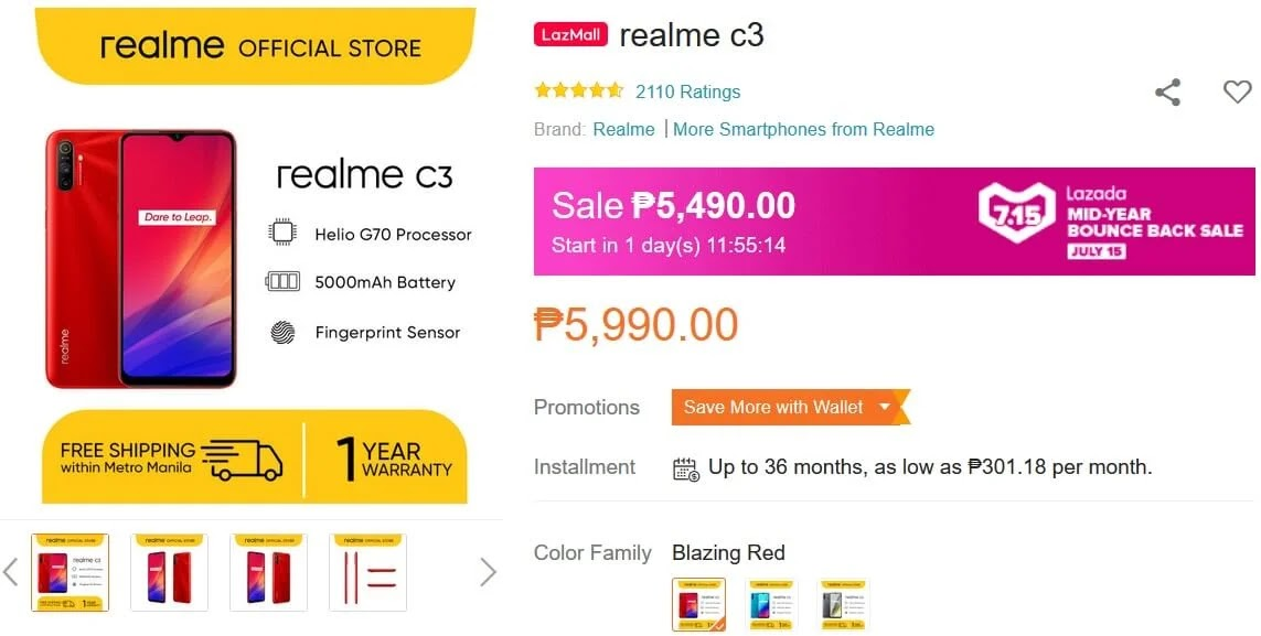 Deal Alert: Realme C3 w/ Helio G70 Chip and 5000mAh Battery On Sale This July 15 for Only Php5,490