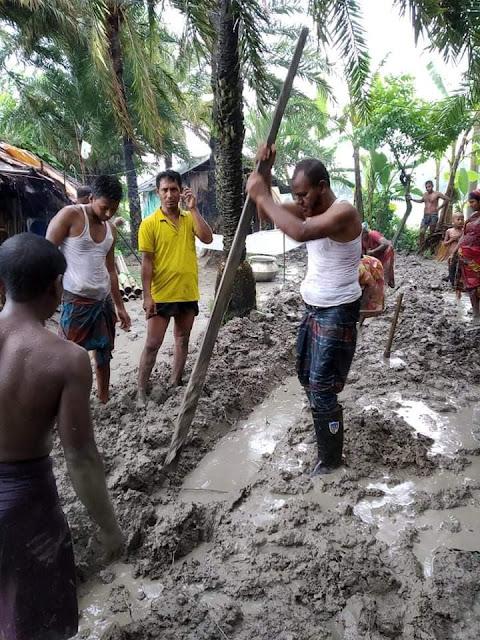 বুধহাটার নওয়াপাড়ায় পানি নিষ্কাশনের জন্য কালভার্ট উন্মুক্ত