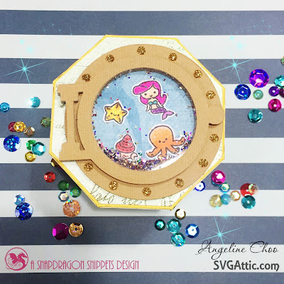SVG Attic: Shaker Clam Shell Box with Angeline #svgattic #scrappyscrappy #underthesea #clamshellbox #shakercard #papercraft #svg #diecut #cutfile