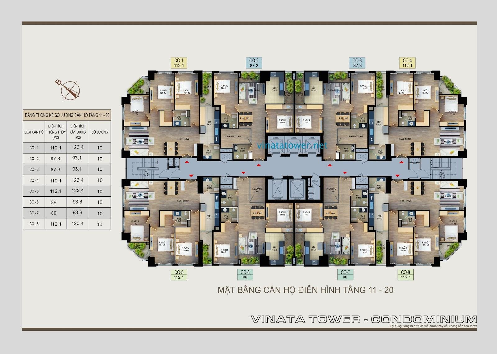 Mặt bằng căn hộ tầng 11-20 Vinata Towers