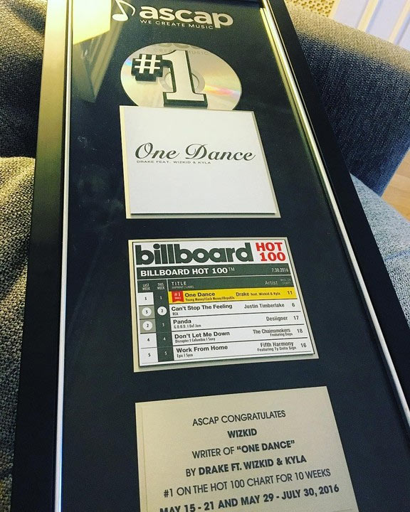 """Wizkid gets ASCAP award for writing Drake's """"One Dance"""""""