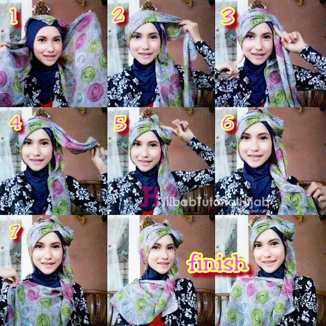 yang bentuknya unik dan ditambahin aksesoris yang membuatnya makin manis dan glamour Tutorial Style Hijab Model Unik