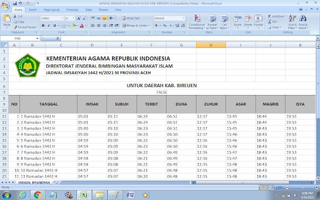 Jadwal Imsakiyah Ramadhan 1442 H Kabupaten Bireuen, Provinsi Aceh
