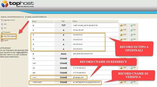 configurazione dei dns di tophost per reindirizzare blog su blogger