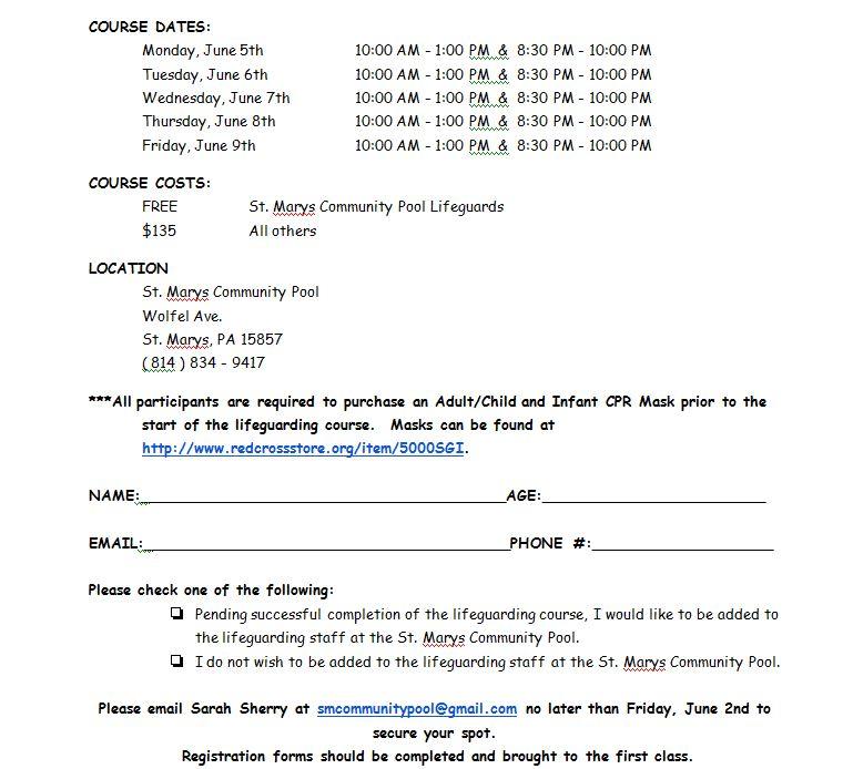 Cameron County Pa News Lifeguard Certification Course