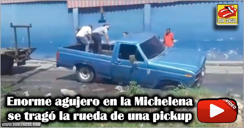 Enorme agujero en la Michelena se tragó la rueda de una pickup
