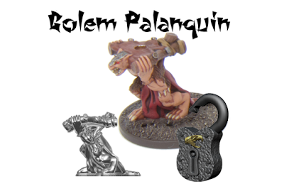 The Lead-free pewter golem holding a Palanquin to mount your Heroes on has been unlocked and will be added to the Champions pack. Supplied unpainted and without a base.