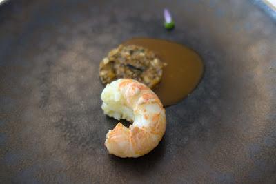 Langoustine, shiitake restaurant Kei Paris 01. blog Délices à Paris.